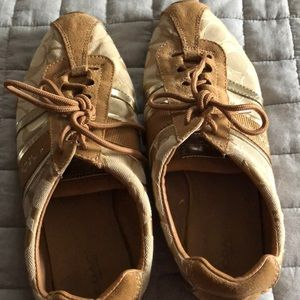 Coach sneakers tan and gold